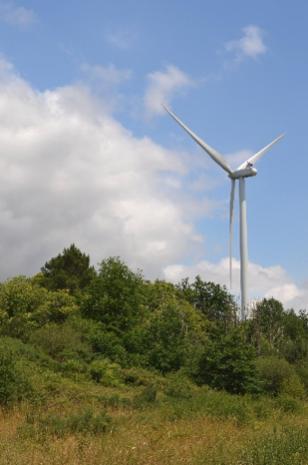 Figure 1. Eolienne en fonctionnement du parc des Landes de Lavernat (EGN, 2020)